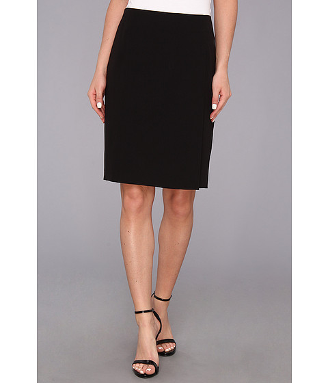 Fuste DKNY - Suiting Pencil Skirt w/ Slit and Faux Leather Zipper Binding - Black