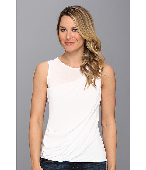 Bluze DKNY - Lightweight Jersey Sleeveless Top w/ Diagonal Chiffon Overlay - White