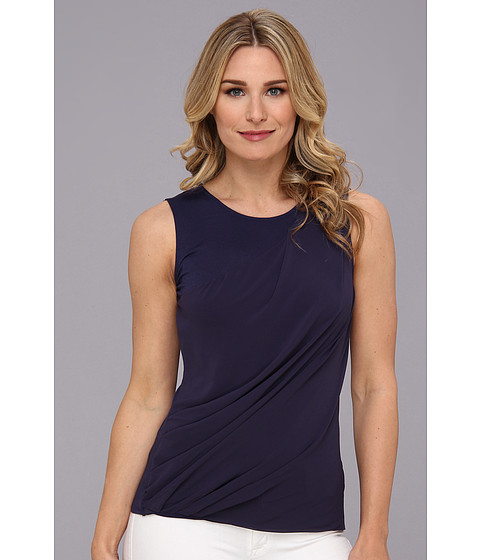 Bluze DKNY - Lightweight Jersey Sleeveless Top w/ Diagonal Chiffon Overlay - Eclipse