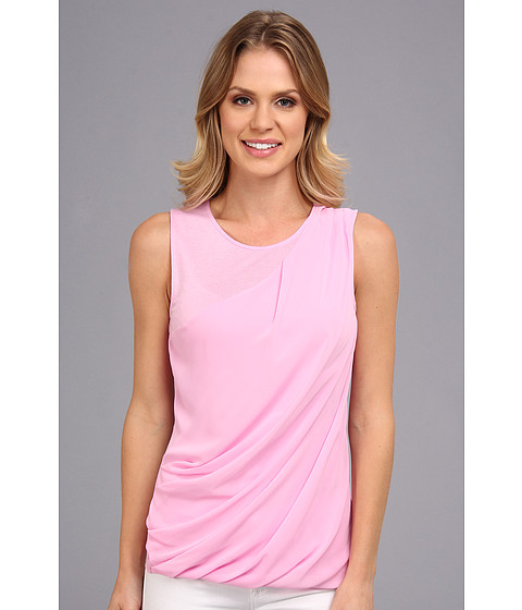Bluze DKNY - Lightweight Jersey Sleeveless Top w/ Diagonal Chiffon Overlay - Freesia