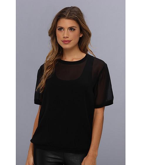"Bluze BCBGMAXAZRIA - \""Aja\"" Jersey Tank With Chiffon T-Shirt Overlay - Black"