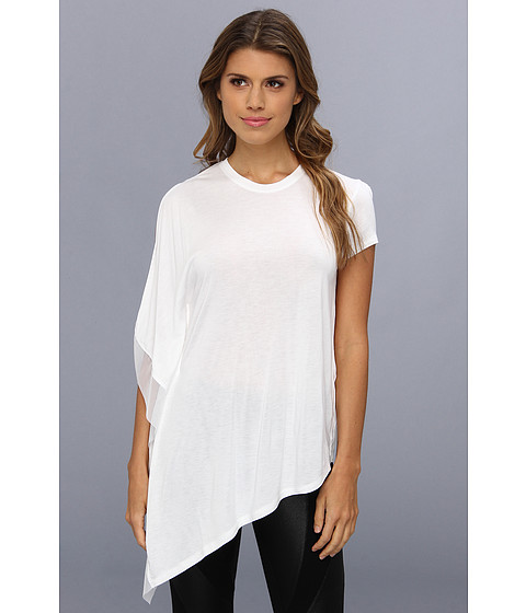 "Bluze BCBGMAXAZRIA - ""Laguna\"" One Sleeve Top With Stretch Tulle Contrast - White"