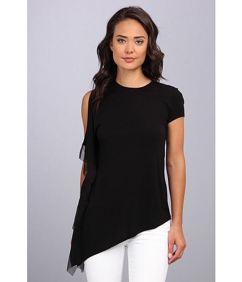 "Bluze BCBGMAXAZRIA - \""Laguna\"" One Sleeve Top With Stretch Tulle Contrast - Black"