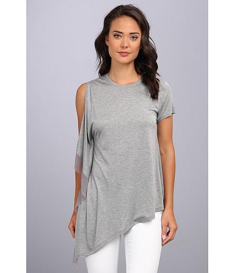 "Bluze BCBGMAXAZRIA - \""Laguna\"" One Sleeve Top With Stretch Tulle Contrast - Heather Grey"