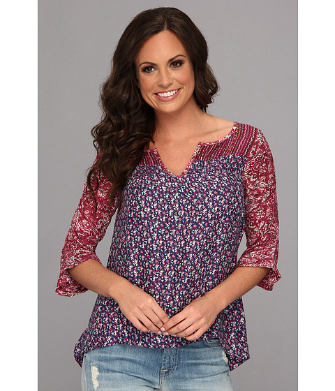 Bluze Lucky Brand - Hermosa Mix Print Peasant - Purple Multi
