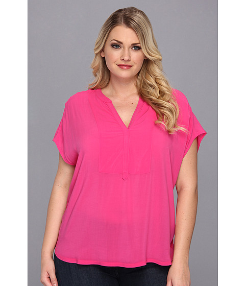 Bluze Vince Camuto - Plus Size S/S Mixed Media Henley Top - Dark Pink