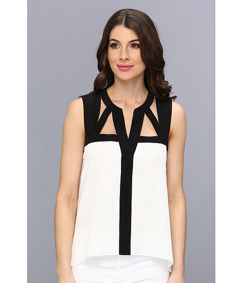 "Bluze BCBGMAXAZRIA - ""Laurenne\"" Cutout Sleeveless Top - White Combo"