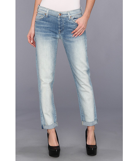 Blugi 7 For All Mankind - Josefina Skinny Boyfriend w/ Rolled Hem in Sun Bleach Destroy - Sun Bleach Destroy