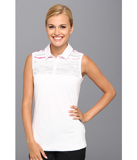 "Bluze adidas - Puremotionâ""¢ Textured Sleeveless Print Polo \14 - White/Light Onix/Bahia Magenta"