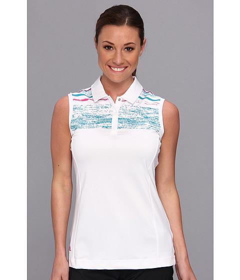 """Bluze adidas - Puremotionâ""""¢ Textured Sleeveless Print Polo \14 - White/Teal/Bahia Magenta"""