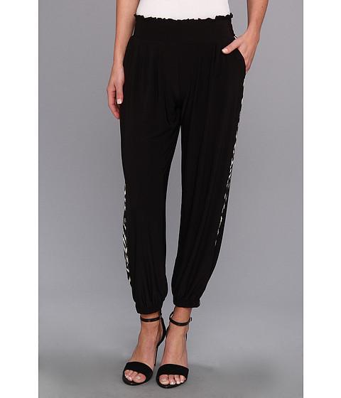 Pantaloni Tbags Los Angeles - Harem Cropped Pants w/ Side Contrast - Black