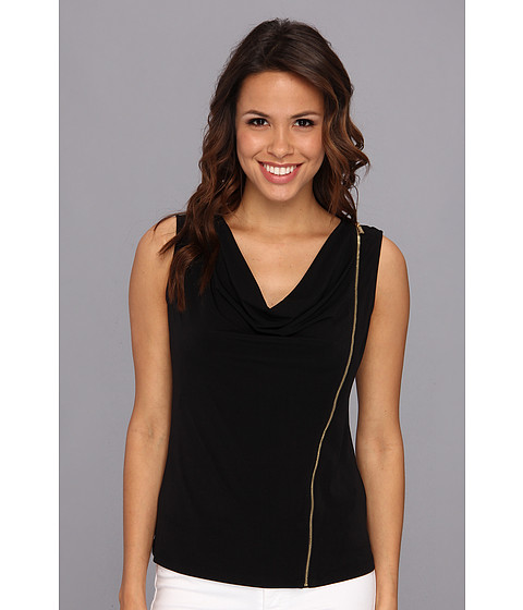 Bluze Calvin Klein - Sleeveless Solid Zipper Cowl Top - Black