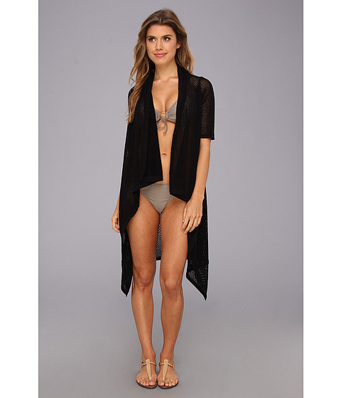 Costume de baie Echo Design - Open Stitch Short Sleeve Cardi - Black