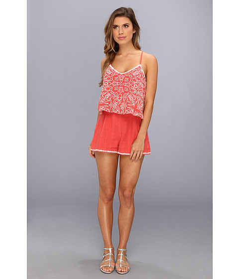 Pantaloni Dolce Vita - Roseann Tier Embroidered Romper - Burnt Coral