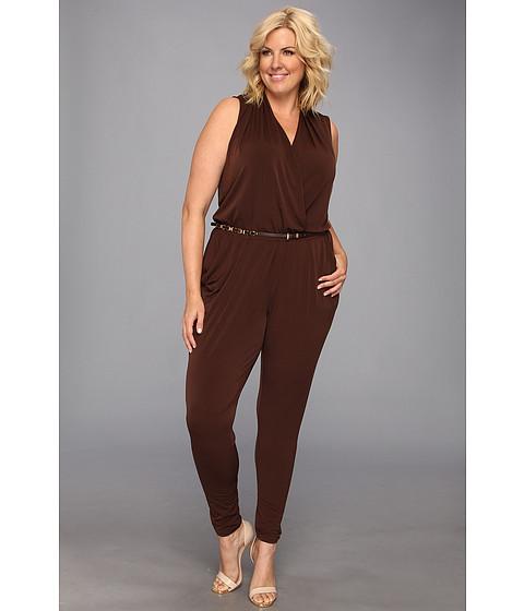 Pantaloni MICHAEL Michael Kors - Plus Size S/L Belted Jumpsuit - Chocolate