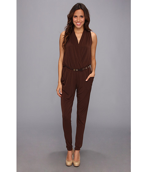 Pantaloni MICHAEL Michael Kors - Sleeveless Belted Jumpsuit - Chocolate