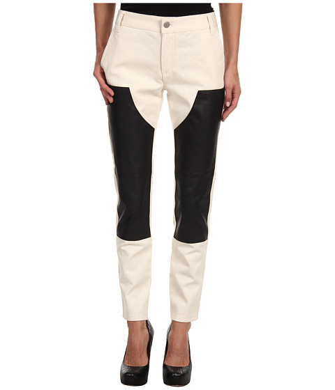 Blugi Tibi - Leather On Denim Carpenter Skinny Pant - Natural/Black