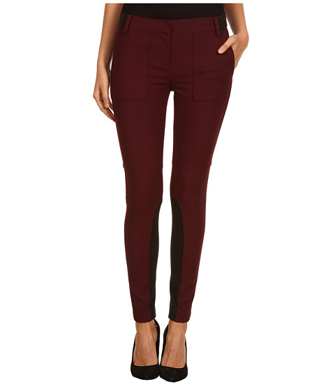 Pantaloni Tibi - Anson Stretch Skinny Pant w/ Ribbed Detail - Wine