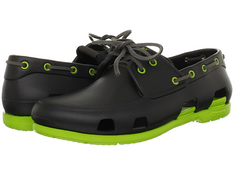 Pantofi Crocs - Beach Line Boat Shoe - Onyx/Volt Green