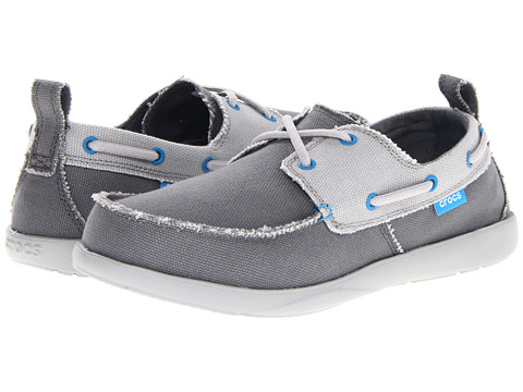 Pantofi Crocs - Walu Canvas Deck Shoe - Charcoal/Light Grey