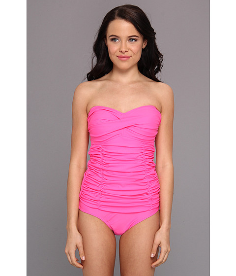 Costume de baie U.S. Polo Assn - One Piece Swim Suit With Draped Shirring And Removable Neck Strap - Pink Polish