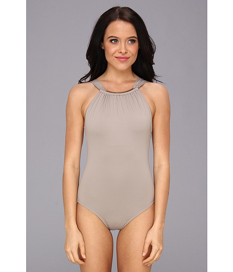 Costume de baie Vince Camuto - Blue Mist Resort High Neck Maillot w/ Removable Soft Cups - Sandstone