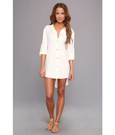 Costume de baie Vince Camuto - Pleating Waves Shirt Tail Dress Cover Up - Pearl