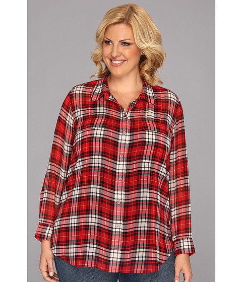 Camasi Vince Camuto - Plus Size L/S Plaid Utility Shirt - China Red