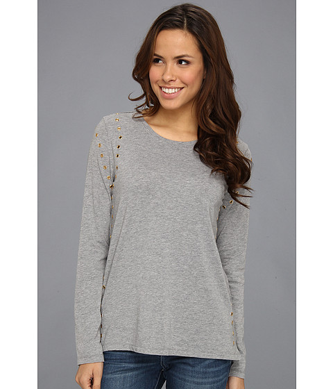 Bluze Vince Camuto - L/S Rivet Seamed Tee - Shadow Heather