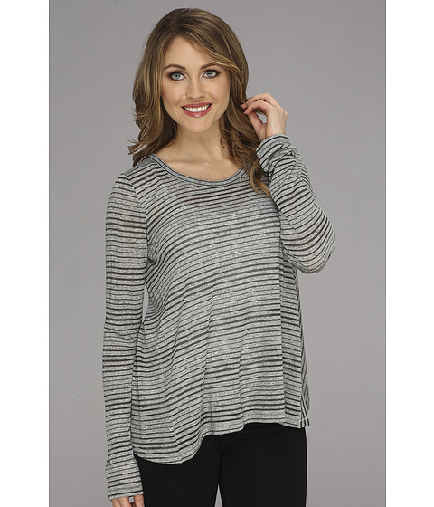 Bluze Vince Camuto - Mixed Stripe Crossover Back L/S Tee - Shadow Heather