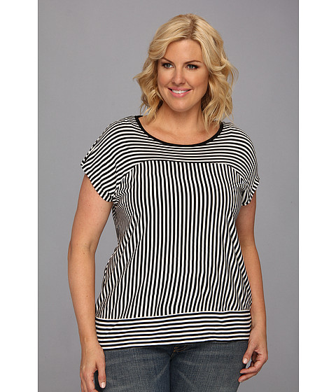 Bluze Vince Camuto - Plus Size S/S Parallel Lines Top - Rich Black