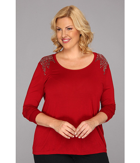 Bluze Vince Camuto - Plus Size Sparkle Shoulder L/S Tee - China Red