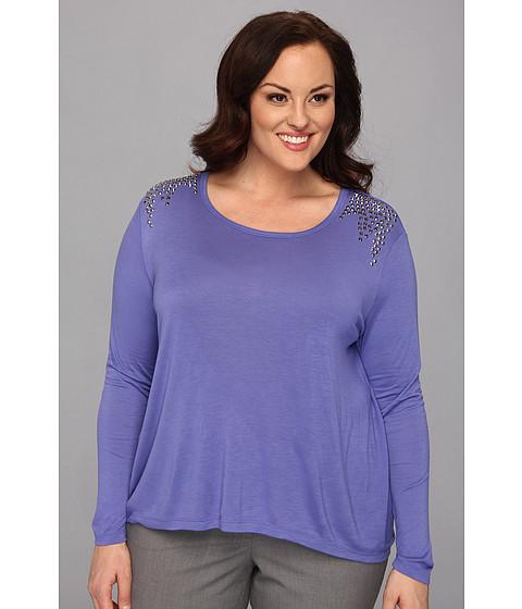 Bluze Vince Camuto - Plus Size Sparkle Shoulder L/S Tee - Deep Freesia