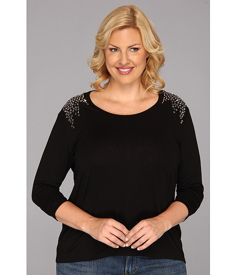 Bluze Vince Camuto - Plus Size Sparkle Shoulder L/S Tee - Rich Black