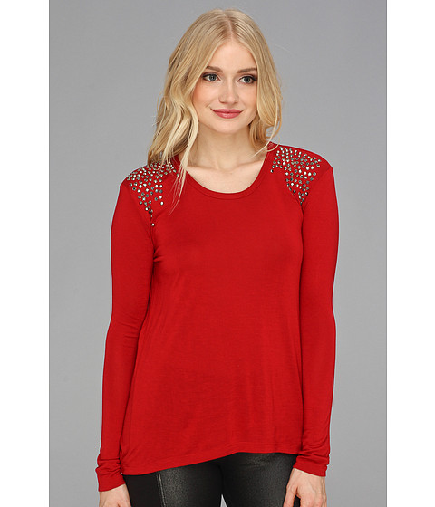 Bluze Vince Camuto - Sparkle Shoulder L/S Tee - China Red