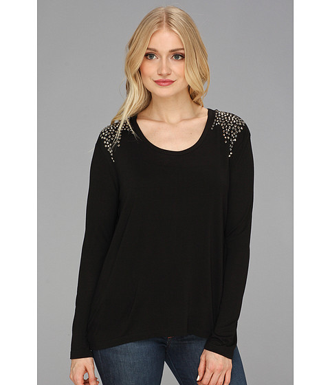 Bluze Vince Camuto - Sparkle Shoulder L/S Tee - Rich Black