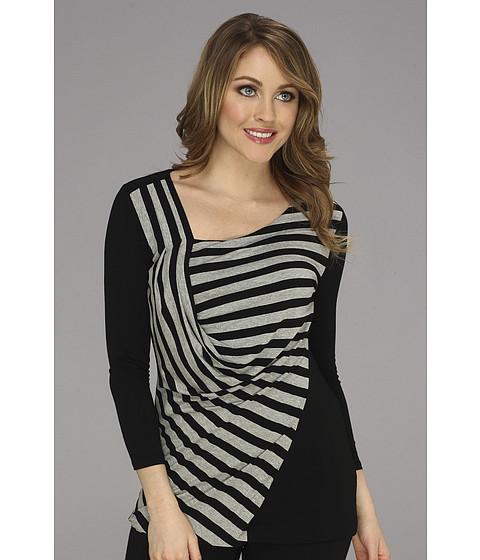 Bluze Vince Camuto - 3/4 Sleeve Side Drape Stripe Top - Rich Black