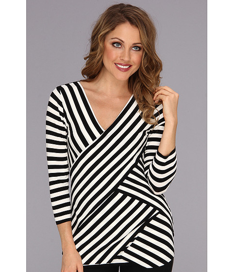 Bluze Vince Camuto - 3/4 Sleeve Stripe Tiered Tee - New Ivory