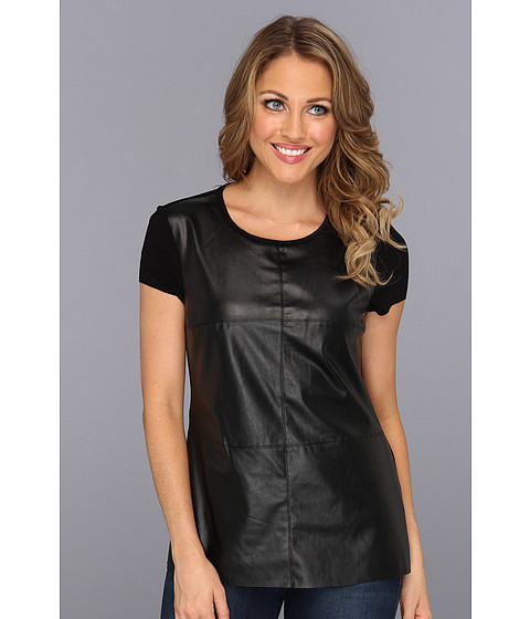 Bluze Vince Camuto - Cap Sleeve Tee w/ Pleather Front - Rich Black