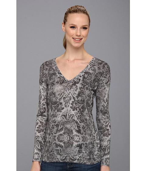 Bluze Vince Camuto - V Neck Baroque Pullover - Light Heather Grey