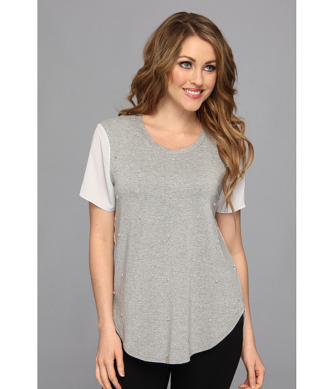 Bluze Vince Camuto - Woven Back Embellished Tee - Light Heather Grey