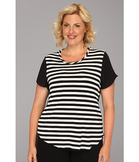 Bluze Vince Camuto - Plus Size Woven Back Stripe Tee - New Ivory