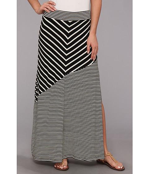 Fuste Seven7 Jeans - Chevron Skirt w/ Wide Bias Hem - Black/White