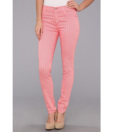 Pantaloni James Jeans - James Twiggy Stripe Faux Front Pocket Legging in Flamingo Stripe - Flamingo Stripe