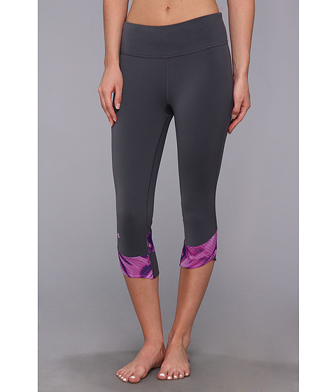 Pantaloni Under Armour - Fly-By Compression Capri - Lead/Exotic Bloom Print/Reflective