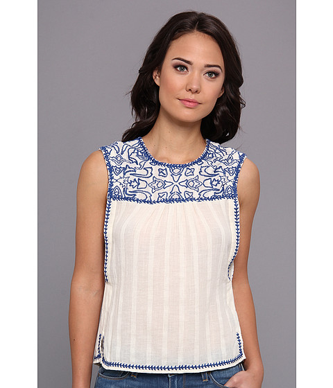 Bluze Dolce Vita - Careen Embroidered Top W Swing Back - Cream/Blue