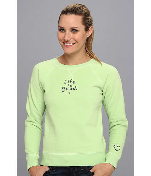 Bluze Life is good - Softwash Crew Sweatshirt - Lime Green