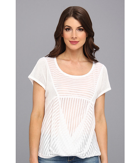 Bluze DKNY - Mesh And Sheer Stripe Bubble Top - White