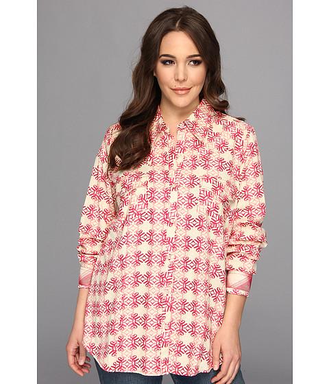 Camasi Roper - Plus Size 8991 Stawberry Swirl Print Poplin Shirt - Red