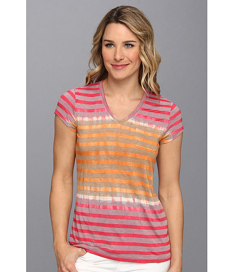 Bluze Vince Camuto - V-Neck One Pocket Feeder Stripe Tee - Dark Pink